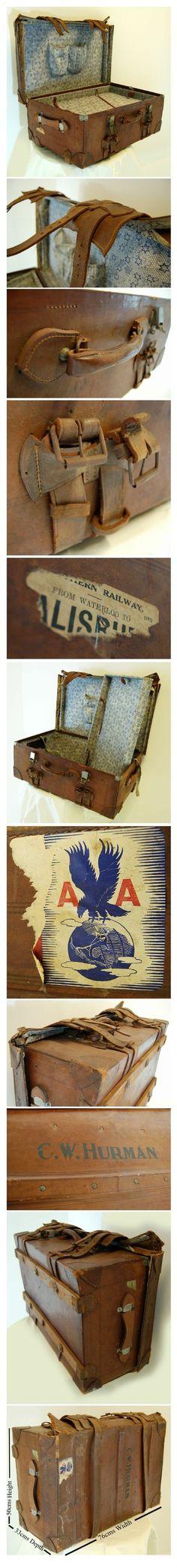 large leather vintage suitcase luggage travel trunk box - photo angle #5