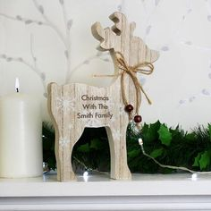Wooden Christmas Decorations | Personalised Rustic Reindeer Wooden Christmas Decoration | Vivabop | http://www.vivabop.co.uk/products/personalised-rustic-reindeer-wooden-christmas-decoration