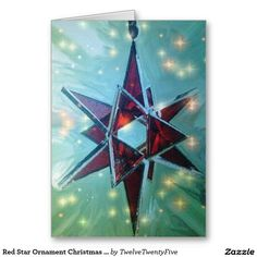 Red Star Ornament Christmas Card