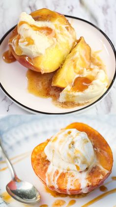 Baked peaches with brown sugar butter and cinnamon. Tastes like a homemade peach pie without all the work and calories! Baked peaches with brown sugar butter and cinnamon. Tastes like a homemade peach pie without all the work and calories! Summer Dessert Recipes, Healthy Dessert Recipes, Fruit Recipes, Cooking Recipes, Peach Dessert Recipe, Dessert With Peaches, Recipes With Peaches, Best Summer Desserts, Recipes