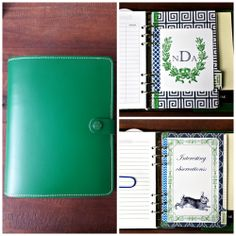 Filofax Original A5 in Standard Green. Navy and Green. Homemade dividers.