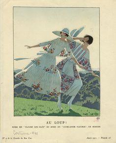 """Au Loup! (Robe En """"Fleurs Des Blés"""" Et Robe En """"Guirlande Fleurie,"""" De Rodier.) 1921. [""""Peasant"""" style embroidered dresses.]"""