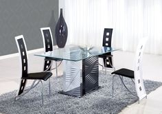 Modern Rectangular Solid Glass Dining Table with Black Chairs and Gray Fur Rug