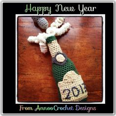 Annoo's Crochet World: Free Pattern Pop Champagne Bottle Crochet Blanket Patterns, Amigurumi Patterns, Crochet Food, Crochet Bags, Crochet Dolls, Free Crochet, Holiday Crochet, Memorial Gifts, Crochet Designs