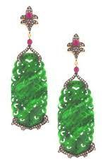 Carved Jade, Ruby Diamond Earrings on HauteLook I Love Jewelry, Pearl Jewelry, Jewelery, Fine Jewelry, Jade Earrings, Diamond Earrings, Drop Earrings, Coral, Stainless Steel Necklace