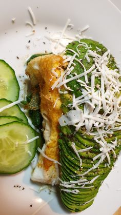A Light lunch of Steamed spinach topped with 1 egg omelette an avocado, grated feta and cucumber. Steamed Spinach, 1 Egg, Omelette, Lunches, Avocado Toast, Feta, Cucumber, Breakfast, Health