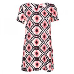 Love Neon Aztec Lucy Watson Shift Dress-Women's Clothing-- www.loveonlinefashion.com