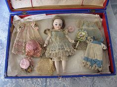 From Private Museum Paris Collection Antique Barefoot One of a Kind French All Bisque Mignonette Doll with Trousseau