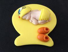 Fondant Tweety baby cake topper By evynisscaketopper on Etsy.com