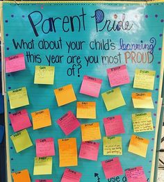 Parent/ Teacher Conferences :heavy_check_mark: put this out for the parents. It was so cute having the kids write about what they're proud of their learning so far (yesterday) and the parent comments added today are even sweeter! Communication Avec Les Parents, Parent Teacher Communication, Parent Involvement Ideas, Parent Teacher Interviews, Parent Teacher Meeting, Classroom Organization, Classroom Management, Classroom Door, Year 4 Classroom