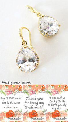 Luxe Cubic Zirconia Teardrop Gold Earrings, gifts for her, Bridal Earrings, Bridesmaid earrings, Champagne gold weddings, jewelry, by GlitzAndLove, www.glitzandlove.com