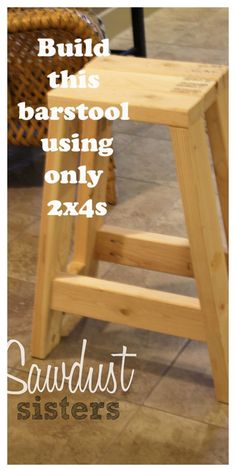 Build this barstool using only 2x4s. Tutorial at sawdustsisters.com - Woodworker's Life