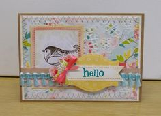 Whimsical, country cottage-esque birdie notecard