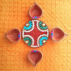 Round Diya Plate & 4 Diya - Online Shopping for Diyas and Lights by Dipti Art & Craft