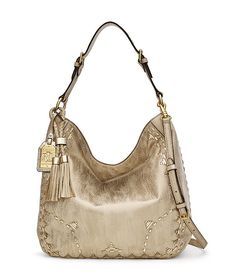 Lauren Ralph Lauren Ridley Metallic Tasseled Hobo Bag