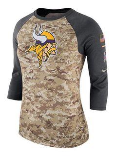 Nike Ladies Vikings Salute To Service Camo Raglan T-Shirt  81b4226d9