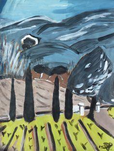 Luberon, Steinbruch Oppède (Provence), Original, Kunst, Acryl von Susanne Piesk