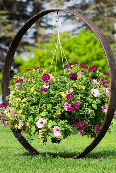 Cup and Saucer Succulent Planter Flower Basket Riding on the Wheels Wheel by Garden . - - Cup and Saucer Succulent Planter Flower Basket Hanging on the Wagon Wheel by Garden Bench Garden Yard Ideas, Diy Garden Decor, Garden Planters, Garden Art, Garden Decorations, Succulent Planters, Outdoor Garden Decor, Garden Benches, Succulent Gardening