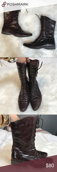 VTG Elle Leather Calf boots In Excellent vintage condition. Leather Upper, rubber sole. Dark Brown. Brand listed for exposures Steve Madden Shoes Lace Up Boots