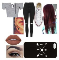 """""""Untitled #8"""" by chloe-335 ❤ liked on Polyvore featuring Topshop, Converse and Lime Crime"""