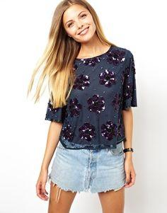 - ASOS - T-shirt à fleurs en sequins