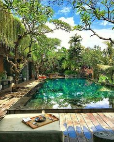 Making a pool on your property is such a luxury that you should not settle for just any pool. Get inspiration from these creative pool designs. Backyard Pool Designs, Swimming Pool Designs, Pool Landscaping, Patio Design, Swimming Pools, Exterior Design, Backyard Ideas, House Design, Tropical Garden Design