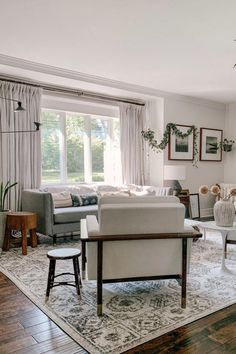 This gray boho living room is simply ethereal. Get the look with Mist Gray Drapery from Barn & Willow. Boho Chic Living Room, Grey Interior Design, Drapery Rods, Custom Window Treatments, Window Frames, Living Room Inspiration, Flat Sheets, Window Coverings, Barn