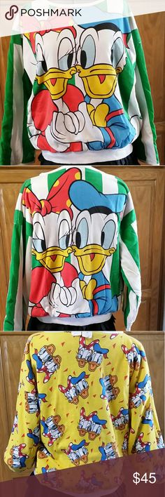 "Vintage Donald and Daisy Duck sweatshirt This is a cross between a sweatshirt and a quilted tshirt.  It features Donald and Daisy Duck.  Their photo is on the front and back.  Their photo is also all over the inside of the shirt.  It is in great shape for its age. There is a small hole under one of the arms (last photo).  Flat measurements are as follows:  Armpit to Armpit is 24 1/2"" Waist is 20 1/2"" Length is 22 1/2"" Tops"