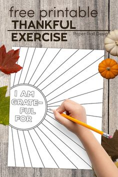 Use this free printable thankful exercise this fall with kids or adults to help you think of things that your are grateful for. #papertraildesign #thankful #grateful #thanksgiving #iamthankful #iamthankfulactivity