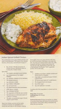 Indian Spiced Grilled Chicken (Penzey's)