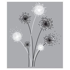"""These modern dandelion-inspired flower decals are the perfect piece of decor for dorms, bedrooms, or kitchens. The contrasting colors of black and white blooms will really """"pop"""" off a painted surface! To apply these fun wall decals, just peel each element from the sheet and stick it to the wall—no rubbing or smoothing required. You can transform any boring room in just seconds with roommates!"""