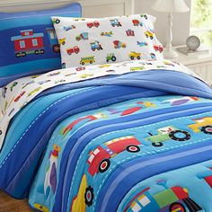 Trains Air Planes Fire Trucks Boys Bedding Twin Full/Queen Blue Comforter Set by Olive Kids #kidsroomstore