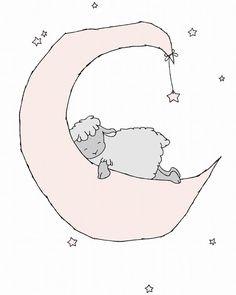 Lamb Nursery kunst--Lam maan en sterren dromen--roze en grijze kwekerij Decor--kinderen Art Print--schapen kinderkamer kunst