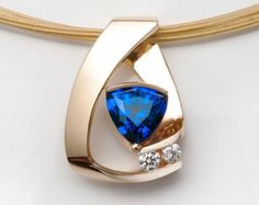 14 k amarillo oro collar zafiro azul de Chatham, collar de diamantes, regalo de aniversario, piedra septiembre, joyería fina, artesanal - 3452