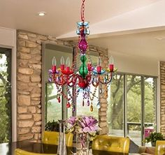Acrylic CRYSTAL CHANDELIER Lighting MULTI COLOR 6 ARM Ceiling Fixture HOME ROOM #AcrylicCRYSTALs