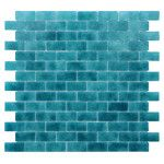 """<strong>Quartz 0.75"""" x 1.63"""" Glass Mosaic Tile in Turquoise/Blue</strong> by Kellani"""