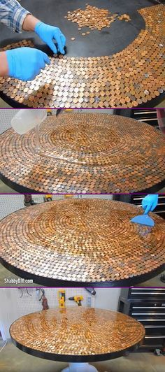 DIY Penny Table Top Project Tutorial Video - Glaze Coated