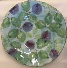 "14"" Platter by Laurie Curtis Plums on Blue Green Wash"