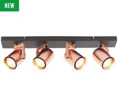 Buy Collection Cole 4 Light Spotlight - Black & Copper at Argos. Thousands of products for same day delivery or fast store collection. Copper Wall Light, Copper Ceiling, Copper Lighting, Flush Lighting, Chandelier Lighting, Kitchen Lighting, Bathroom Spotlights, Led Ceiling Spotlights, Hanging Lights