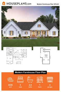 Looking for modern farmhouse ideas? Check out this modern farmhouse floorplan. Questions? Call 1-800-913-2350 today. #blog #architecture #modern #bungalow #architect #architecture #buildingdesign #country #craftsman #houseplan #homeplan #house #home #homeblog Farmhouse Floor Plans, Farmhouse Ideas, Farmhouse Design, Farmhouse Style, Building Department, Modern Bungalow, Building Design, My Dream Home, Craftsman