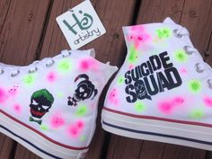 Suicide Squad Shoes. Suicide Squad Vans. Suicide Squad Converse High Tops. Harley Quinn and Joker Shoes. by HJArtistry on Etsy       #harley, #harleyquinn, #joker, #suicidesquad, #chucks, #chucktaylors, #customshoes