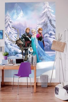 Your little girl will love this Frozen wallpaper mural with Else, Anna, Olaf, Kristoff & Sven the Reindeer to decorate the walls of her bedroom. Frozen Wallpaper, Wallpaper Online, Paper Wallpaper, Kids Wallpaper, Photo Wallpaper, Wall Wallpaper, Disney Stars, How To Apply Wallpaper, Frozen Poster