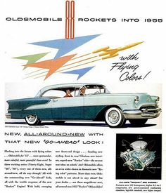 1955 Oldsmobile Rocket 88. Colors as shown. Also had a 55 4 door sedan for parts. Needed restoration but ran and drove..