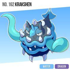 161 Kraklam by zerudez on DeviantArt Pokemon Fan Art, New Pokemon, Cool Pokemon, Pokemon Fusion, Pokemon Games, Pokemon Stuff, Mega Evolution, Water Type, Water Dragon