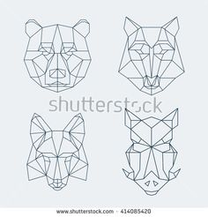 Low poly animals. Bear and wolf, fox and wild boar heads, muzzle. Vector illustration