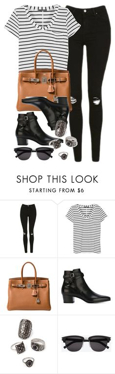"""Style #11070"" by vany-alvarado ❤ liked on Polyvore featuring Topshop, Tart, Hermès, Yves Saint Laurent and Forever 21"