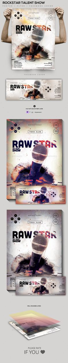 RockStar Talent Poster/Facebook Cover — Photoshop PSD #week #concert • Available here → https://graphicriver.net/item/rockstar-talent-posterfacebook-cover/10028720?ref=pxcr