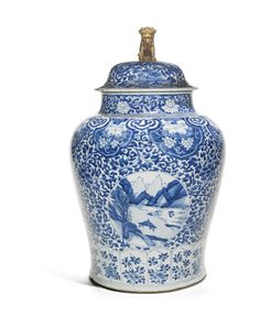 A LARGE BLUE AND WHITE 'LANDSCAPE' JAR AND COVER<br>QING DYNASTY, KANGXI PERIOD | Lot | Sotheby's