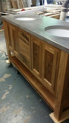 Concrete Counter With Oval Undermount Sinks. Handcrafted By Northeast  Furniture Studio.