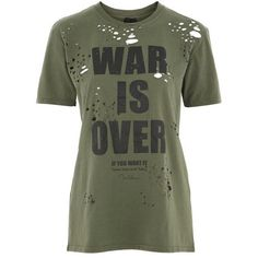 War Is Over Nibbled T-Shirt by and Finally ($35) ❤ liked on Polyvore featuring tops, t-shirts, slogan t shirts, leather top, torn t shirt, destroyed t shirt and green t shirt